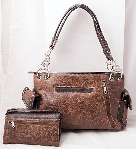 Handbag Hanging Carry Feather Wallet Western Set Tooling Tassels HW Concealed Brown Purse and Collection gpzqccywT