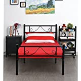 GreenForest Twin Size Metal Bed Frame with Stable Metal Slats Stable Headboard/Black