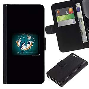 Dolphin Grunge - la tarjeta de Crédito Slots PU Funda de cuero Monedero caso cubierta de piel Para Apple (5.5 inches!!!) iPhone 6+ Plus / 6S+ Plus