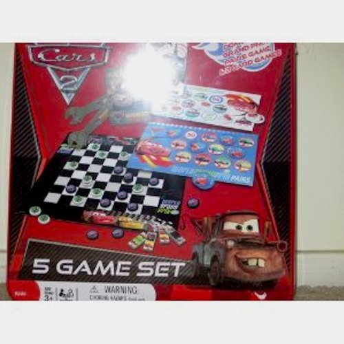 Disney Pixar Cars 2 5 Game Set includes checkers, Dominoes, Grand Prix, Pairs Game and 2 card Games.