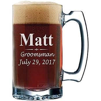 Custom Beer Mugs - Engraved Personalized Groomsmen Beer Glasses Gifts - 12 oz - 3 Lines Design