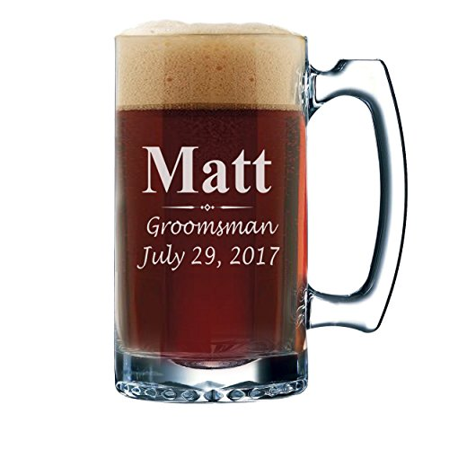 Custom-Beer-Mugs-Engraved-Personalized-Groomsmen-Beer-Glasses-Gifts-12-oz-3-Lines-Design