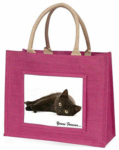 Advanta schwarz Katze, Yours Forever Große Einkaufstasche Weihnachten Geschenk Idee, Jute, Rosa, 42x 34,5x 2cm