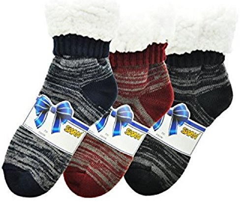 r-Weight Sherpa-Lined Knitted Thermal Crew Socks (3-pairs Marled Knit, 10-13) (Sherpa Lined Thermal)