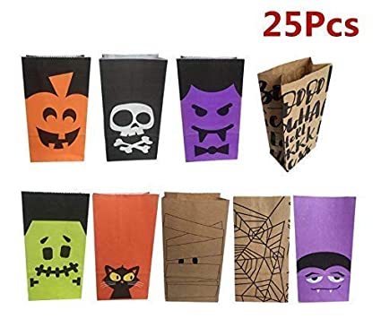 Amazon.com: Gwill Halloween Paper Candy Bags Candies Gift ...