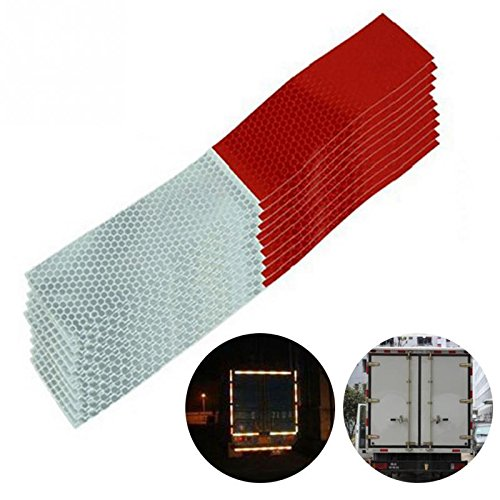 10Pcs DOT-C2 2 X 12 Red/White Reflective Tape Conspicuity Safety Caution Warning Sticker for Car Truck Trailer Mailbox (Red/White)