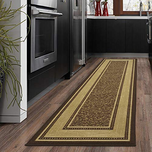 "Ottomanson Ottohome Collection Contemporary Bordered Design Modern Hallway Runner Rug, 2'7"" W x 9' 10""L, Chocolate"