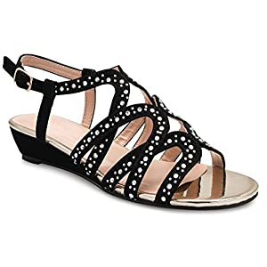 47c25329e OLIVIA K Women's Strappy Crisscross Cutout Ankle Strap Buckle Kitten Low  Wedge Heel Sandals – Comfortable, Slingback .