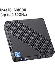 Mini PC Lüfterlos Intel Celeron N4000 (bis zu 2,6 GHz) 4GB DDR4/64GB eMMC Mini-Desktop-Computer Windows 10 Pro HDMI- und VGA-Anschluss 2,4/5,8 G WiFi BT4.2 3xUSB3.0-Unterstützung Linux, M.2 2242 SSD