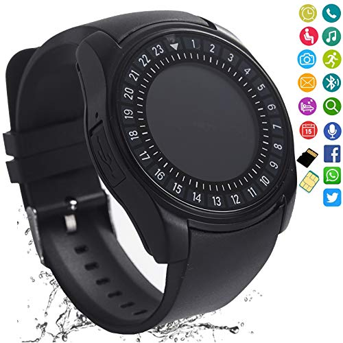 Smart Watch Bluetooth Smartwatch Touch Screen Camera Pedometer SIM Card Slot Text Call Sync Women Men Kids Phone Mate Compatible with Android iOS Mobile Cell Phones (Black) (Smart Talk Bluetooth)