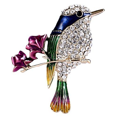 EVER FAITH Austrian Crystal Blue Enamel Humming Bird on 2 Blue Flowers Branch Brooch Clear Gold-Tone -