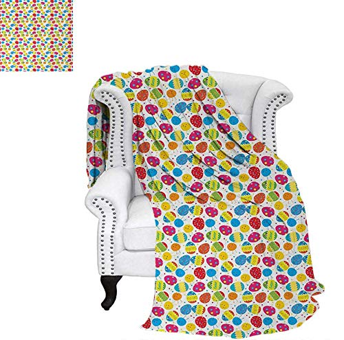 Warm Microfiber All Season Blanket for Bed or Couch Cartoon Style Baby Chicken and Colorful Eggs with Little Daisy Blossoms and Zigzag Throw Blanket 70
