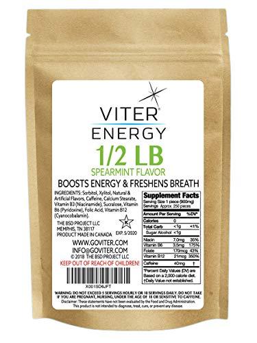 Viter Energy Caffeinated Mints - 40mg Caffeine & B-Vitamins Per Powerful Sugar Free Mint. Boost Energy, Focus & Fresh Breath. 2 Pieces Replace 1 Coffee (Spearmint, 1/2 LB Bulk (Mints Only))