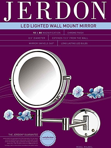 Jerdon HL88CL 8.5-Inch LED Lighted Wall Mount Makeup Mirror with 8x Magnification, Chrome Finish by Jerdon (Image #4)