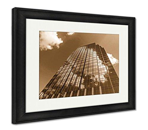 Framed Nashville Tn (Ashley Framed Prints Cloud Connected Skyscraper in Downtown Nashville Tn, Wall Art Home Decoration, Sepia, 26x30 (Frame Size), Black Frame, AG6465550)