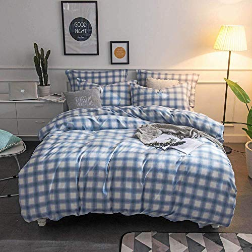 Merryfeel Duvet Cover Set,100% Cotton Rustic Plaid Flannel Comforter Cover with 2 Pillowshams, 3pieces Bedding Set -King