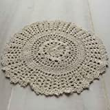 Package of 12 Hand Crocheted Round Ecru Doilies - 100% Cotton- 10'' Round Diam.