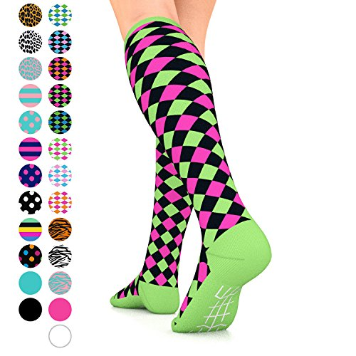 Go2Socks GO2 Compression Socks for Women Men Nurses Runners 15-20 mmHg (Medium) - Medical Stocking Maternity Travel - Best Performance Recovery Circulation Stamina (Harl Black Pink Green, Small) ()
