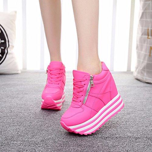 GTVERNH Zapatos de mujer/Verano/11 cm Super tacón alto zapatos de deporte primavera y otoño lona ocio mujer zapatos muffin suela zapatos interiores alturados zapatos de viaje blanco