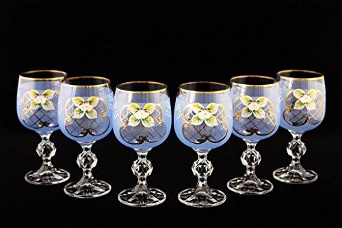 (Crystalex 6pc Bohemia Colored Crystal Vintage Enamel Blue Wine Goblets Set, 24K Gold-Plated, Hand Made)