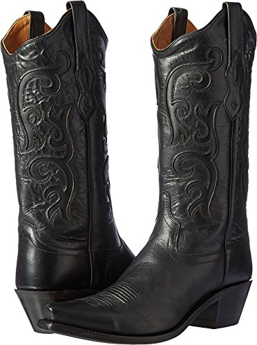 Old West Black Womens All Over Leather 12in Snip Toe Stitch Cowboy Boots 7 B