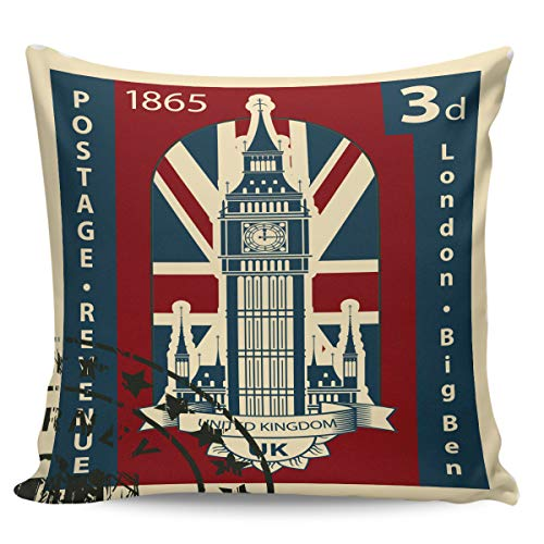 Queen Area Square Pillowcases for Mens Women Girls Boys Luxury Soft Throw Cushion Cover Pillow Sham for Living Room Sofa Bedroom Couch & Bed Vintage Big Ben Stamp 26