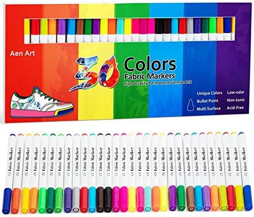 مجموعة أقلام تلوين قماشية ملونة ثابتة 30 لون ا لكتابة الرسم على تي شيرت ملابس أحذية رياضية قماشية أحذية آمنة للأطفال وغير سامة Amazon Ae