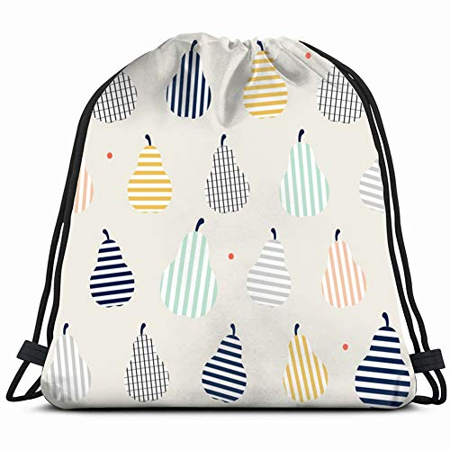 cute colorful pear fruit stripes Drawstring Backpack Gym Sack Lightweight Bag Water Resistant Gym Backpack for Women&Men for Sports,Travelling,Hiking,Camping,Shopping Yoga
