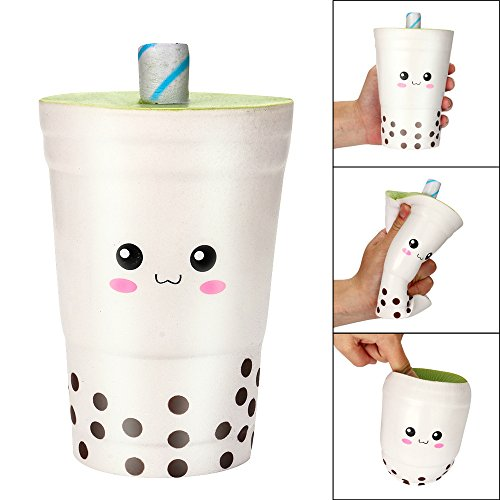 Milk Cow Stress Ball - Show TINE ON 16cm Jumbo Cute Milk Cups Squishy, Cream Scented Squishies,Slow Rising Charm Toy Jumbo Squishies Kawaii Stress Relief Decompression Toys Collection Gift for Kids Adults (Beige)