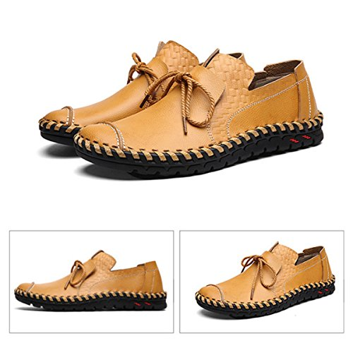 gracosy Men's Loafers Suede Leather Moccasins Boat & Driving Slip-on Flat Shoes Outdoor Slipper Spring Summer Casual Handmade Men's Shoes Work Comfort Leather Lace-up Loafer Flats Pumps Yellow F3MJIH8f9