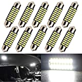 "Everbright 10-Pack Extremely Bright White 31MM 1.25"" 4014 Chipes 16-SMD DE3175 DE3021 DE3022 3175 LED Festoon Interior Map/Dome Dome/Trunk / Glove Box Lights LED Lamp (DC-12V)"