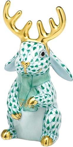 Herend Reindeer Bunny Rabbit Porcelain Figurine Green Fishnet