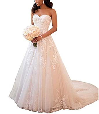 ad25f4d78171 Emmani Women's Sweetheart Lace Beaded Bling Trailing Bridal Wedding Dresses  Ball Gown Ivory