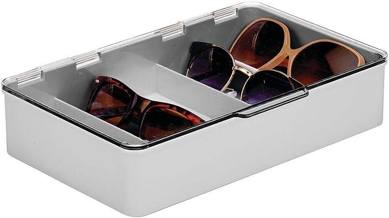 mDesign Cajas para gafas de sol – Clasificador de plástico con 5 compartimentos – Organizador de armarios para guardar todo tipo de gafas – gris y transparente: Amazon.es: Hogar