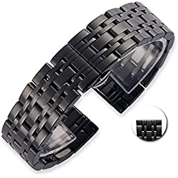 Premium Solid Stainless Steel Quick Release Watch Band Strap, Wrist Band, Business Bracelet Replacement, Double Insurance Clasp. 18, 20, 22 mm Wide - for Men and Women