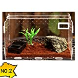 DREAMER.U Transparent Acrylic Terrarium Habitat Breeding Box Set for Lizard Arboreal Tarantulas Snails Chameleon Spider Snake Green Anole or Other Reptiles & Amphibians (#2)