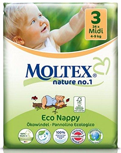 Moltex Nature No1 Eco-nappies Baby Nappies with Bear (Box, MIDI Size 3 (4-9 kg))