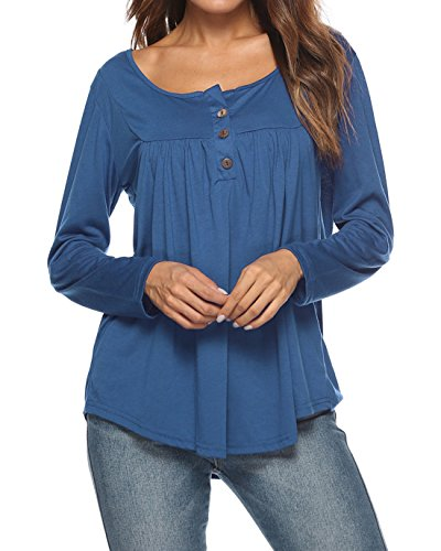 Lunga Moda Azzurro Shirt e Tumblr Maglie T Autunno Fr Cime Donne a Bluse Manica Fox Tops Casual Primavera ulein Pieghe Maglietta a 1tqaRP