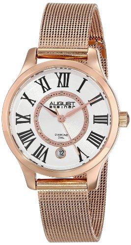 August Steiner Women's AS8094RG Diamond Rose-Tone Stainless Steel Watch With Mesh Bracelet