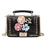GMYANDJB Cute Handmade Flowers Handbags with Chain 3D Floral Vintage Lady Leather Shoulder Crossbody Bag for Women Flap Small Purses