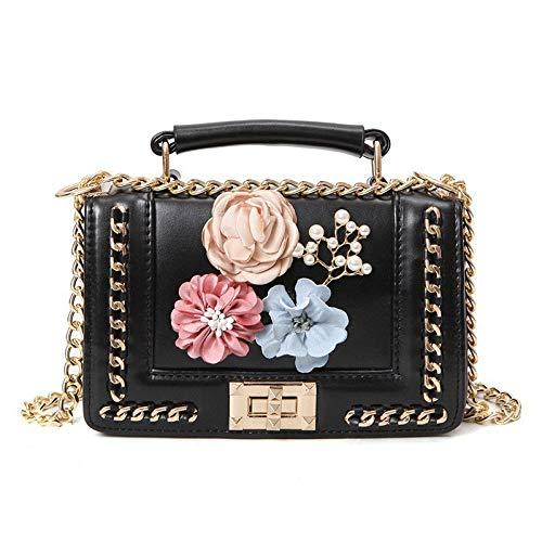 GMYANDJB Bolsos de Flores Hechos a Mano Lindos con Cadena 3D Floral Vintage Lady Cuero Bandolera Crossbody para Mujeres Flap...