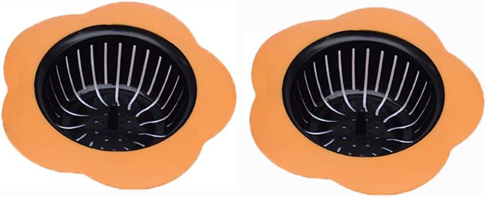 4.5 Diameter, 2 Orange Pouring strainers,Drain FilterLarge Wide Rim 4.5 Diameter Silicone Kitchen Sink Strainer 2 Pack