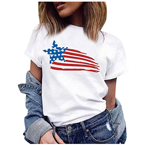Independence Day T-Shirt, Flag Graphic Print Short Sleeve Blouse(M-White,M)