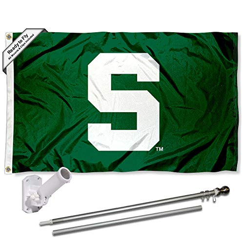 Michigan State Spartans Block S Flag with Pole and Bracket Complete Set
