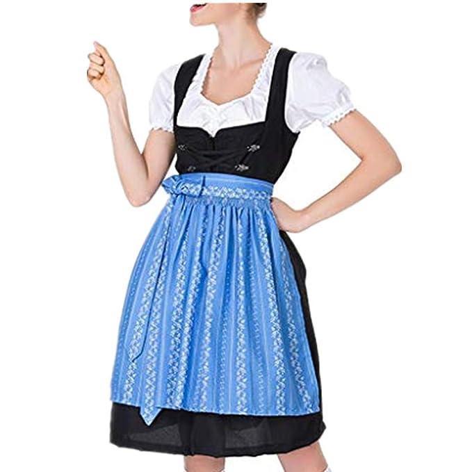 Berimaterry Vestido Dirndl para Mujer Disfraz de Bávaro de ...