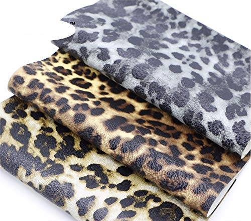 (7.8x8.6 Inch Leopard Print Fabric-Leopard Leather Fabric Sheets-Cheetah Leather Sheets for Earring Making-Leopard Vinyl Faux Synthetic Leather Fabric-Synthetic Leather Fabric for Phone Coverings (3))