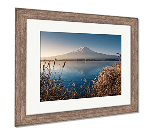 Mountain Fuji in Morning from Lake Kawaguchiko, Wall Art Home Decoration, Color, 34x40 (Frame Size), Rustic Barn Wood Frame, AG5910127 ()