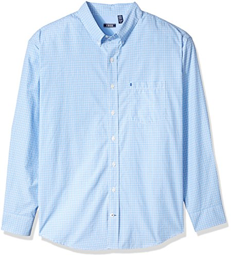 (IZOD Men's Big and Tall Breeze Short Sleeve Button Down Plaid Shirt, Legacy boy Blue, Large)