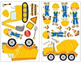 Samunshi 23-piece Excavator Construction Site Building Machine Construction Workers Truck Wall Tattoo Set for Child's Bedroom Baby Room, multicoloured, 2x 21x34cm