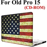 Old MacBook Pro 15 Inch CD-ROM Case Model A1286, iZi Way Vintage American Flag Pattern Rubberized Hard Shell Case Cover for Previous Gen. Mac Pro 15.4 with DVD Drive (2010-2012)
